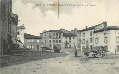 ".CPA FRANCE 42 ""St Genest Malifaux, La place"""