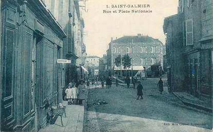 ".CPA FRANCE 42 ""St Galmier, Rue et Place Nationale"""