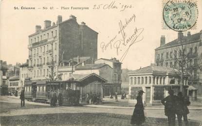 """.CPA  FRANCE 42 """"St Etienne, Place Fourneyron""""/ TRAM"""