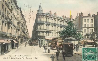 """.CPA  FRANCE 42 """"St Etienne, Rue de la République et Place Dorian"""""""