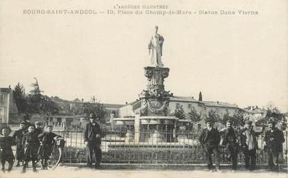 """.CPA  FRANCE 07 """"Bourg St Andéol, Place du Champ de Mars, Statue Dona Vierna"""""""