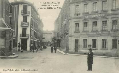 """.CPA FRANCE 07 """"Le Cheylard, Hôtel de la Poste et Rue de l'Hôtel de Ville"""""""