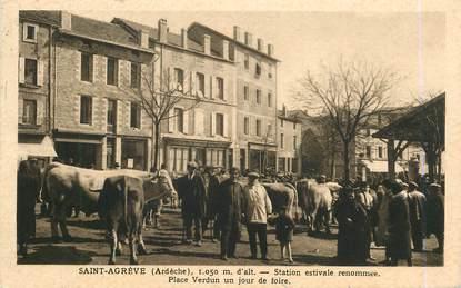 """.CPA FRANCE 07 """"St Agrève, Place Verdun un jour de foire"""""""