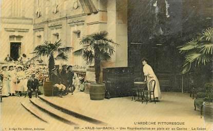 """.CPA  FRANCE  07 """"Vals les Bains, Une représentation en plein air au casino"""""""