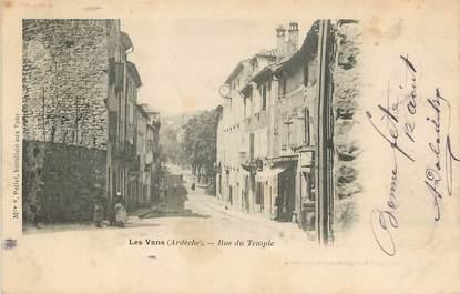 """.CPA FRANCE 07 """"Les Vans, Rue du Temple"""""""