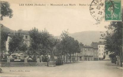 """.CPA FRANCE 07 """"Les Vans, Monuments aux morts,Statue Léopold Ollier  """""""