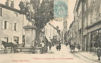 """.CPA FRANCE 07 """"Vernoux, L'église et la Grande Rue"""""""