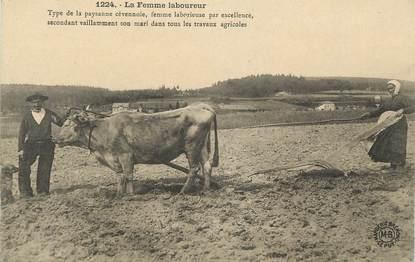 """.CPA   FRANCE 07 """"Type de paysanne Cévennole, La femme laboureur"""""""