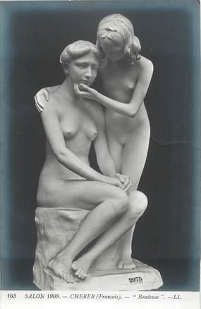 """CPA THEME NU """"Sculpture Salon 1908, Boudeuse, de Cherer"""""""