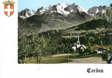""".CPSM   FRANCE 74 """"Cordon, L'église et le Mont Blanc"""""""
