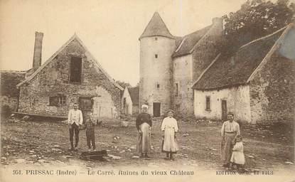 """.CPA FRANCE 36 """"Prissac, Le Carré, ruines du vieux château"""""""