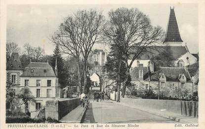 """.CPA FRANCE 37 """" Preuilly sur Claise, Le Pont et Rue du Sénateur Nioche"""""""