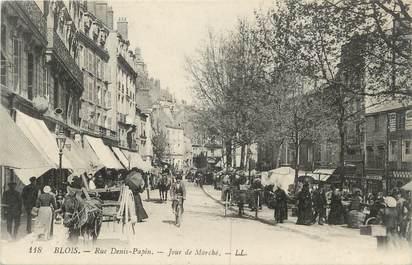 """.CPA FRANCE 41 """" Blois, Rue Denis Papin jour de marché"""""""
