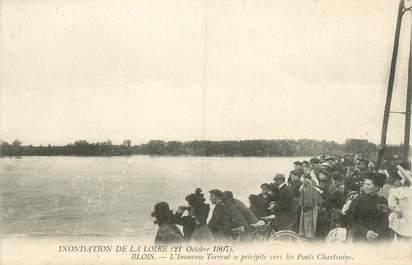 ".CPA FRANCE 41 "" Blois, Crue de la Loire 21 octobre 1907, Immense torrent vers les Ponts Chartrainsl""/INONDATIONS"