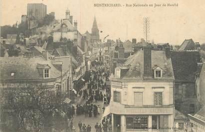 """.CPA FRANCE 41 """"Montrichard, Rue nationale un jour de marché"""""""