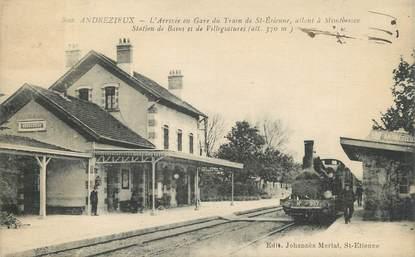 """.CPA FRANCE 42 """" Andrézieux, La gare""""/TRAIN"""