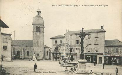 """.CPA FRANCE 42 """"Courtouvre, Place principale et église"""""""