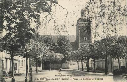 """.CPA FRANCE 72 """"Château du Loir, Place Monnier et l'église"""""""