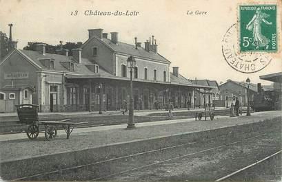 """.CPA FRANCE 72 """"Château du Loir, Place de l'Hôtel de ville, La  gare"""""""