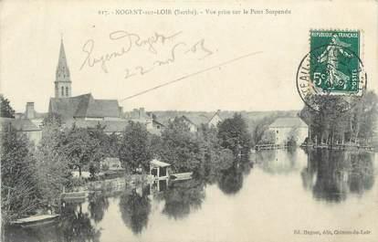 """.CPA FRANCE 72 """"Nogent sur Loir, Vue prise sur le pont suspendu"""""""