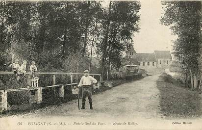 """CPA FRANCE 77  """"Egligny, Rte de Balloy"""""""
