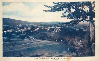 """.CPA  FRANCE 74 """"Langin, Vue générale et le Lac Léman"""""""