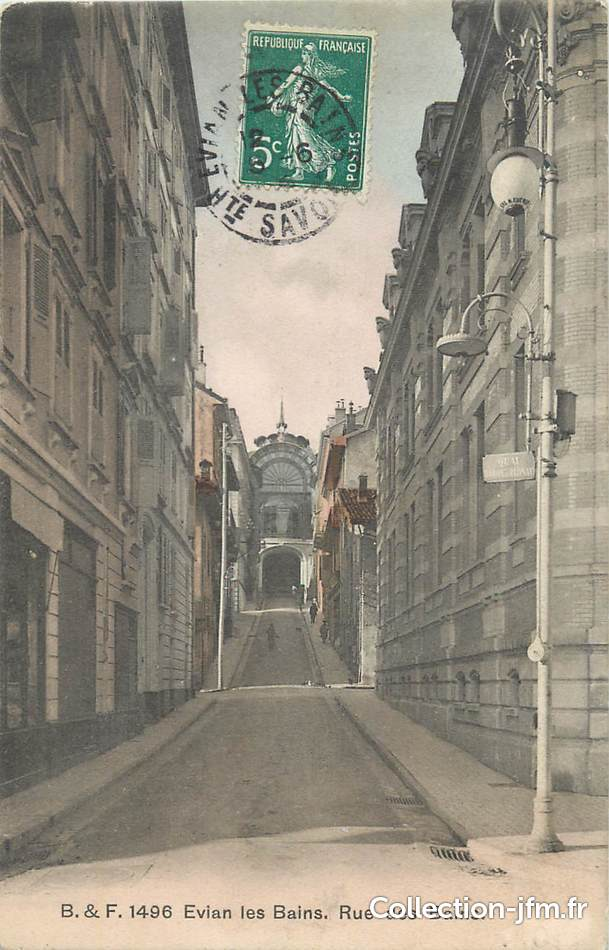 Cpa france 74 evian les bains rue des bains 74 haute for Rue des bains