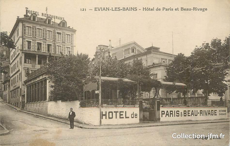 Cpa france 74 evian les bains h tel de paris et beau for Hotel des bains paris france
