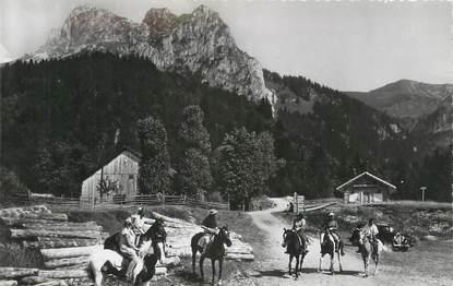 """.CPSM FRANCE 74 """" Bernex, Promenade à cheval au pied de la dent d'Oche"""""""