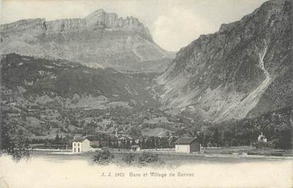".CPA FRANCE 74 ""Servoz,  Gare et village"""