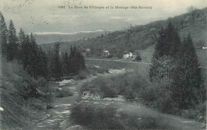 """.CPA FRANCE 74 """"Fillinges, La gare et la Menoge"""""""