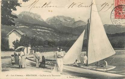 """.CPA FRANCE 74 """"Menthon, Le port et la Tournette"""""""