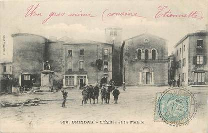 """.CPA FRANCE 69 """"  Brindas, Eglise et Mairie"""""""