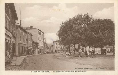 """.CPA FRANCE 69 """" Bessenay, Place et route de Montrottier"""""""