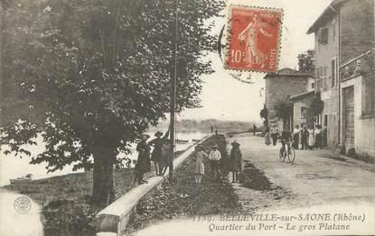 """.CPA FRANCE 69 """" Belleville sur Saône, Quartier du port, le gros platane"""""""