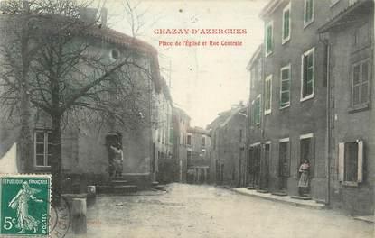 """.CPA FRANCE 69 """"Chazay d'Azergues,  Place de l'église et rue centrale"""""""