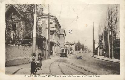 """.CPA FRANCE 69 """"Champagne au Mont d'Or, Avenue de Lannessan à l'arrêt du fort""""/ TRAM"""