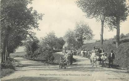 """.CPA  FRANCE 69 """" Les Echarmeaux, Attelages de charollais"""""""