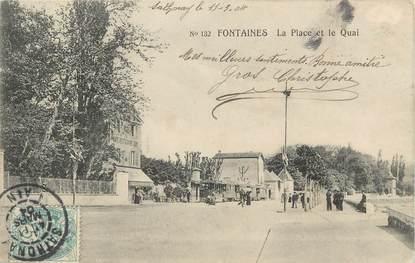""".CPA  FRANCE 69 """" Fontaines, La place et le quai"""""""