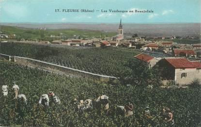 """.CPA  FRANCE 69 """" Fleurie, Les vendanges en Beaujolais"""""""