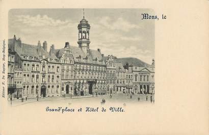 """CPA BELGIQUE """"Mons, grande place et Hotel de ville"""""""