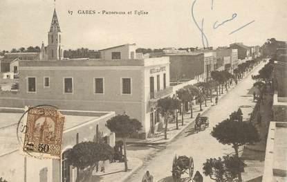 """CPA TUNISIE  """"Gabès, panorama et église"""""""