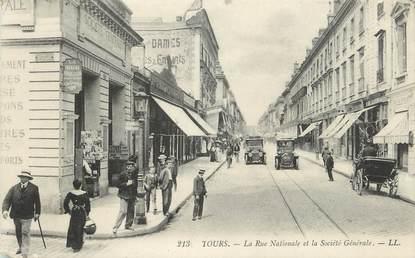 """.CPA  FRANCE 37 """"Tours, La rue nationale et la Société Générale"""" /BANQUE"""