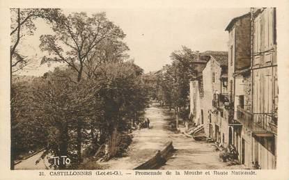""".CPA  FRANCE  47 """" Castillonnès, Promenade de la Mouthe et Route Nationale"""""""