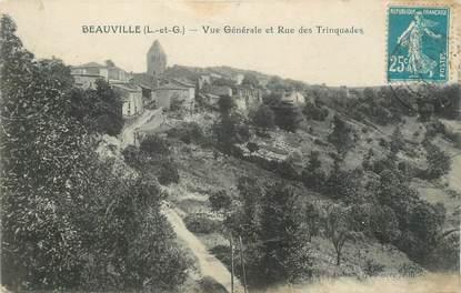""".CPA  FRANCE  47 """"Beauville, Vue générale et Ruee des Trinquades"""""""