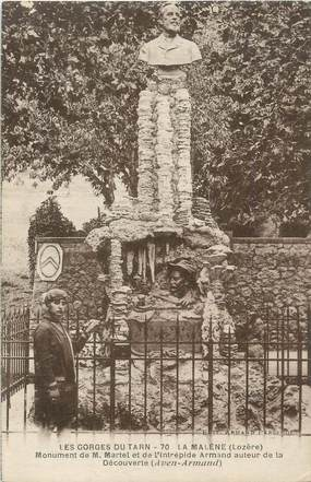""".CPA  FRANCE 48 """"La Malène, Monument de M. Martel et de Armand"""" / GROTTE"""