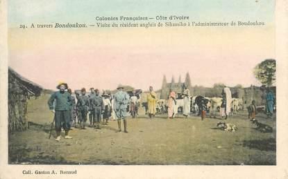 """CPA COTE D'IVOIRE """"Bondoukou, visite du résident anglais de Sikassiko"""""""