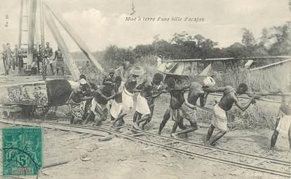"""CPA  COTE D'IVOIRE """"Mise à terre d'une bille d'acajou"""""""