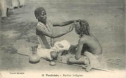 "CPA INDE ""Pondichéry, barbier indigène"""