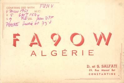 """CPA ALGERIE """"Constantine"""" / CARTE RADIO AMATEUR"""